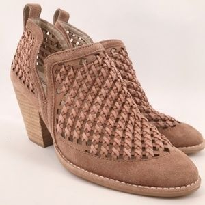 Jeffrey Campbell Pink Suede Woven Bootie Size 8